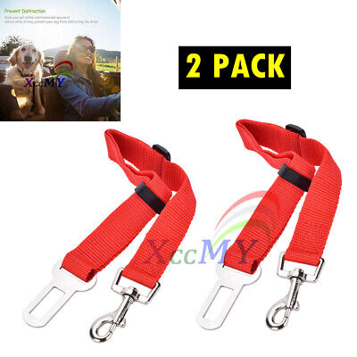 2Pcs Pet Dog Car Vehicle Travel Safety Seatbelt Adjustable Harness Restraint Red