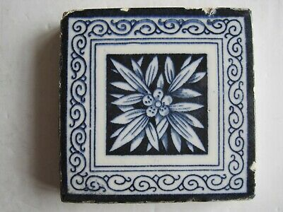 "Antique Victorian Mintons 3"" Square Dark Blue Aesthetic Transfer Print Tile"