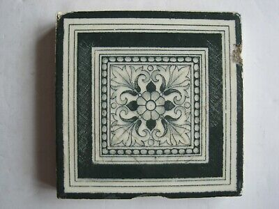 "Antique Victorian Mintons 3"" Square Dark Green Aesthetic Transfer Print Tile"