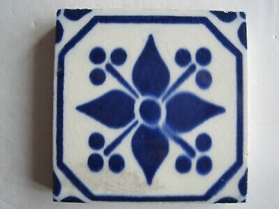 "Antique Victorian Mintons 3"" Square Blue On White Aesthetic Transfer Print Tile"