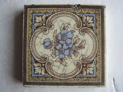 "Antique Victorian Mintons 3"" Square Coloured Floral Transfer Print Tile"