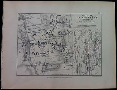 Map, Battle CAMPAIGN LA ROTHIERE c1814 War, Engraved A K Johnston, Hcol