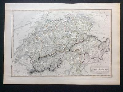 Map SWITZERLAND c1843, Black's General Atlas of World, VGC, engraved, colour