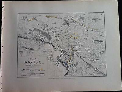 Map Battle Plan ARCOLE 3rd Day c1796 FRENCH REVOLUTION War Engraved A K Johnston