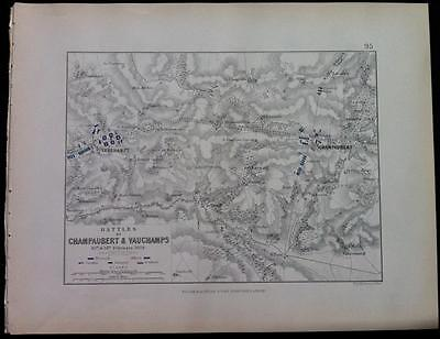 Map, Battle CHAMPAUBERT & VAUCHAMPS c1814 War France Engraved A K Johnston, Hcol