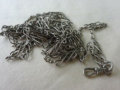 """19c  Antique 60"""" Sterling Silver Chain Knot Link Watch Pendant Necklace 1800's"""