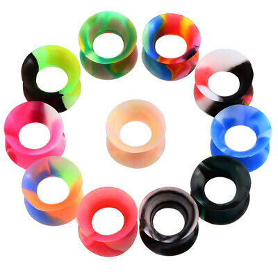 22Pcs Flexible Silicone Ear Flesh Tunnels Plugs Gauges Expander Stretching P5I2R