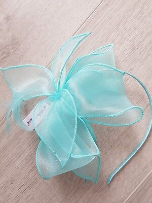 **SALE** Headband Fascinator Aqua Blue Looped Chiffon Wedding Races BNWT