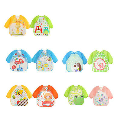 2pcs Baby Toddler Kids Waterproof Long Sleeve Bibs Apron Cartoon Feeding Smock
