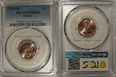 2019 D Lincoln SHIELD Cent 1c PCGS MS68RD Pop 1/0
