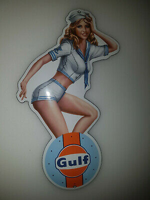 "CLASSIC PINUP GIRL GULF RACING PORCELAIN ENAMEL SIGN EMAILLE! 10x20cm! 4x8""!"