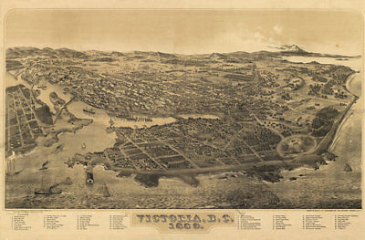 Victoria BC panorama c1889 map 36x24