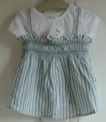 New Next Two peice T-shirt and Top blue/white 2-3 years