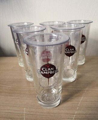 6 verres a whisky CLAN CAMPBELL medaillon coniques NEUFS (2/2)(2/3)