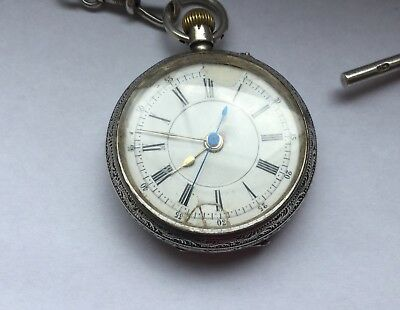 Antique Victorian silver pocket watch, Albert Chain and coin set fob