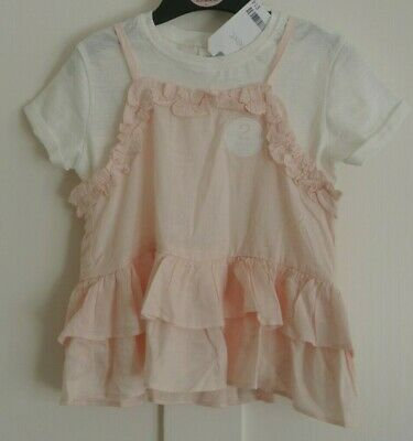 New Next Two peice T-shirt and Top pale peach/white 2-3 years
