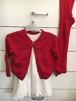 Baby Girl Red H&M Buttoned Jumper Plus Dress&Matching Tights For 1-2years Vgc