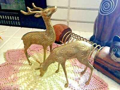 VINTAGE DEER STAG Doe & Fawn Bambi Sculpture Cast Rubbed