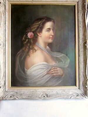 Antique Early 20th Century Oil Portrait Painting of a Late 19th Century Woman