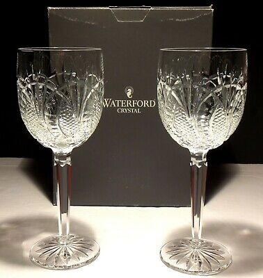 2 Waterford Crystal Seahorse Water Goblet Glasses ~ Made In Ireland ~ In Box
