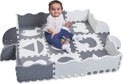 """Wee Giggles Non-Toxic, Extra Thick Foam Baby Play Mat (48"""" x 48"""") - GREY/WHITE"""