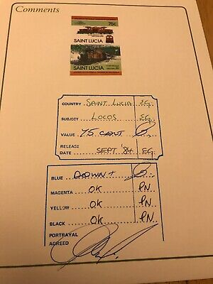 Stamps - St Lucia  Proof Folder Showing All Collurs And Signed Off