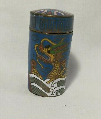 Genuine Antique Qing Dynasty Enamel Dragon Cloisonne Trinket box small H5.5cm