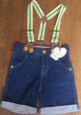 Little Bird By Jools Oliver Boys / Girls Denim Shorts With Braces 12-18 Months