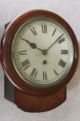 "ANTIQUE 8"" ENGLISH FUSEE RAILWAY type DIAL CLOCK mahogany case, original, RESTOR"