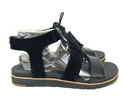 381aa638134 UGG WOMENS MARYSSA Black Strapy Leather/ Suede Sandal Size10,11 M#1019872