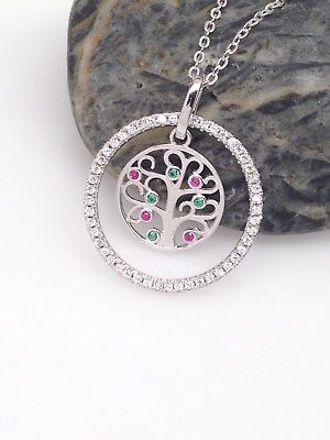Sterling Silver 925 Cz Multi-Color Tree of Life Pendant Necklace 19mm