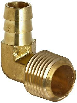 "Anderson Metals Brass Hose Fitting, 90 Degree Elbow, 3/8"" Barb x 3/8"" Male Pipe"