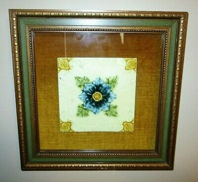 Antique Art Nouveau Floral Tile Pilkington Victorian Flower Majolica Tile Framed