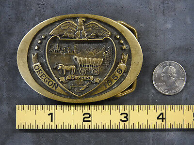 Vintage Oregon Statehood 1859 Commemorative Brass Belt Buckle