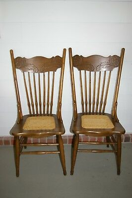 Pair of Early American Solid Oak Construction Pressed-Back Chairs w/ Cane Seats