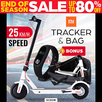 Electric Scooter 300W Foldable Portable Adult Kids Xiaomi Band Commuter Bike WHI