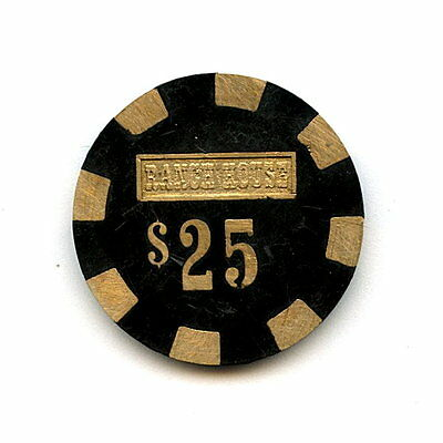 Old Vintage 1980 Casino Chip - $25.00 - Ranch House - Wells Nevada