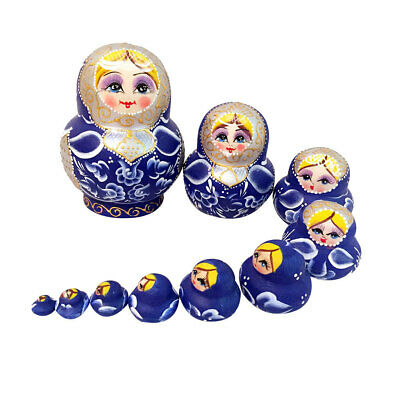 10pcs Russian Wood Nesting Dolls Blue Matryoshka Hand Painted Babushka Girl