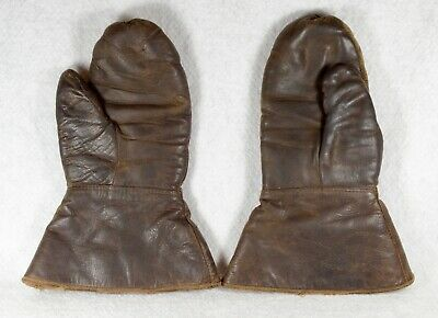 Vintage Adult Brown Leather Motorcycle ? or Military ? Mittens, Gloves