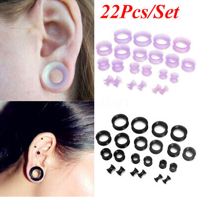 22pcs Flexible Silicone Ear Tunnel Plugs Earlets Gauge Expander Stretching Kit