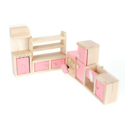Wood Doll House Kitchen Cabinet Set Miniature Furniture Kids Child Play Toy