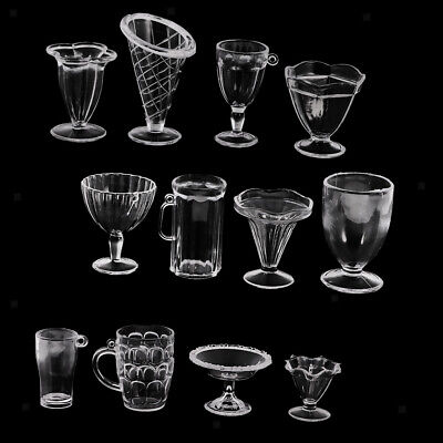 12pcs Dollhouse Mini Clear Cups Dish Plate Tableware Miniatures Containers