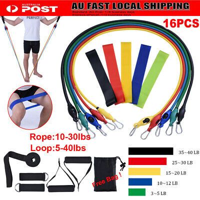 New 16Pcs Resistance Fitness Exercise Bands Set Tube Home Door Yoga Loop Gym Abs