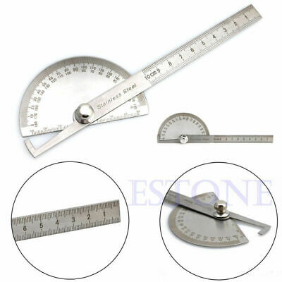 Round Head Stainless Steel  Rotary Protractor Angle Finder Rule Measure Tool Kit