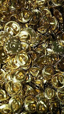 50 Pin Back Clasps butterfly clutch brass new condition Made in USA