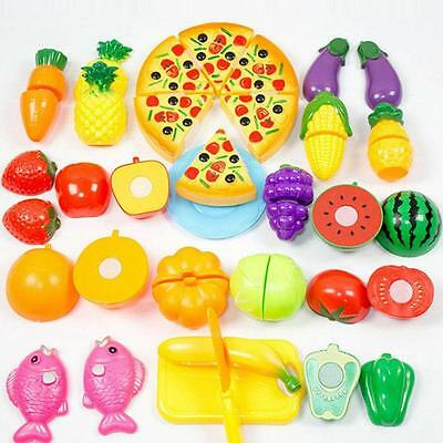 24Pcs Toddler Kid Kitchen Food Pretend Play Cutting Fruit Vegetable Toy Set TO