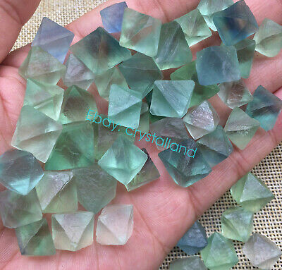 Natural Green Fluorite Octahedron Quartz Crystal Point Healing Gift 15PCS+ 80G