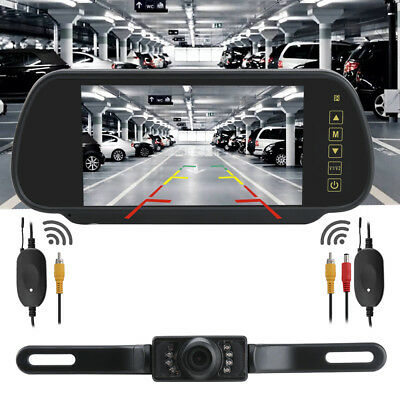 "7"" LCD Mirror Monitor Wireless Car Reverse Rear View Backup Camera Night Vision"