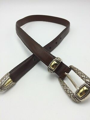 Brighton Brown Leather BELT Womens XS Extra Small Silver & Gold Buckle Tip USA