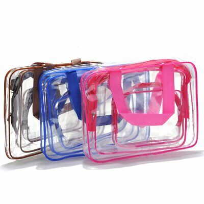 3pcs Portable Clear Cosmetic Toiletry PVC Travel Wash Pouch Makeup Storage Bag